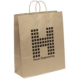 Promotional 16x19 Eco Shopper-Stephanie Recycled Brown Paper Tote Bag