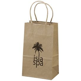 Promotional 5x8 Eco Shopper-Pup Recycled Brown Paper Tote Bag