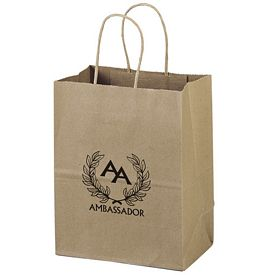 Promotional 8x10 Eco Shopper-Mini Recycled Brown Paper Tote Bag