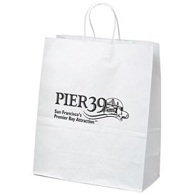 Promotional 13x15 Citation White Paper Shopper Tote Bag