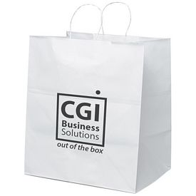 Promotional 14x15 Brute White Paper Shopper Tote Bag
