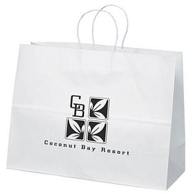 Promotional 16x12 Vogue White Paper Shopper Tote Bag