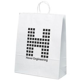 Promotional 16x19 Stephanie White Paper Shopper Tote Bag