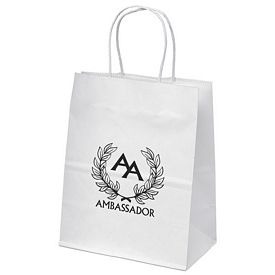 Promotional 7x9 Mini White Paper Shopper Tote Bag