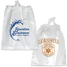 Promotional 12x15 Poly Chord Plastic Drawstring Bag
