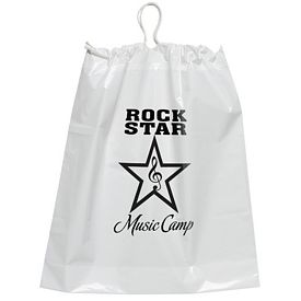 Promotional 16x18 Cotton-Tie Plastic Drawstring Bag