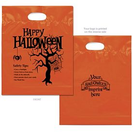 Promotional Happy Halloween Orange Plastic Candy Bag