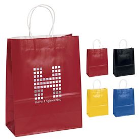 Customized 10x13 Amber Color Gloss Paper Shopping Bag