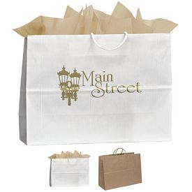 Promotional 16x12 Vegas Uptown Striped Paper Tote Bag
