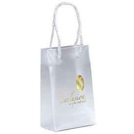 Promotional Aries 5x8x3 Frosted Euro Plastic Shopper Tote Bag