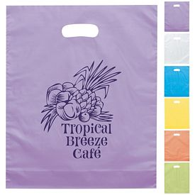 Promotional Orchid 12x15 Frosted Brite Die Cut Shopping Bag