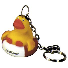 Promotional Red White Vacationer Ducky Key Ring