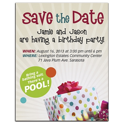 Customized Bic Save The Date Birthday Party Invitation Magnet