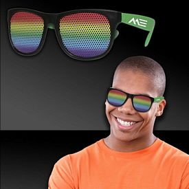 Promotional Rainbow Neon Green Billboard Sunglasses