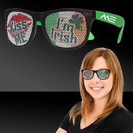 Promotional Kiss Me I'm Irish Neon Green Billboard Sunglasses