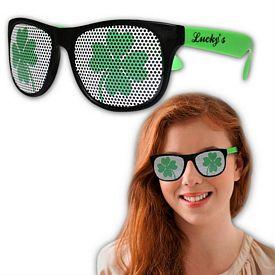 Promotional Shamrock Neon Green Billboard Sunglasses