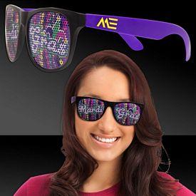 Promotional Mardi Gras Beads Purple Billboard Sunglasses