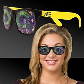 Promotional Neon Yellow Mardi Gras Eyes Billboard Sunglasses