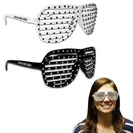 Promotional Black & White Sparkle Slotted Glasses