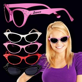 Promotional 50's Crystal Accent Cat Eye Sunglasses