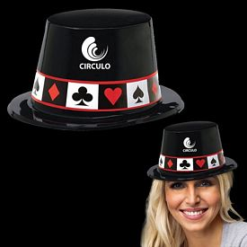 Promotional Casino Black Plastic Top Hat