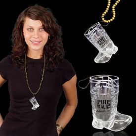 Promotional 1 oz Western Boot Shot Glass Medallion