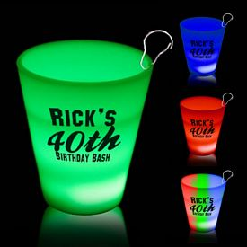 Promotional 2 oz Light-Up Neon Shot Glass Medallion