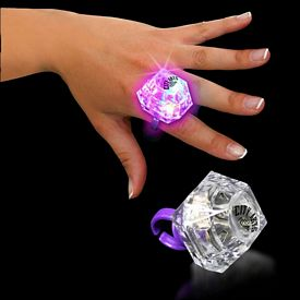 Promotional 1-3/8'' Lighted Blinking Jewel Ring