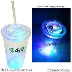 Promotional 16 oz LED Light-Up Straw Travel Cup