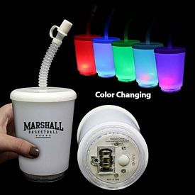 Promotional 12 oz LED Light-up Straw Cup