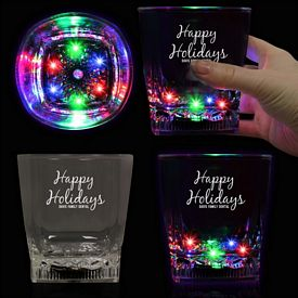 Promotional 10 oz Square Bottom LED Rocks Glass