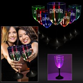 Promotional 10 oz Clear Top Light-Up Wine Glass