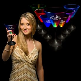 Promotional 7 oz Frosted Top Light-Up Martini Glass
