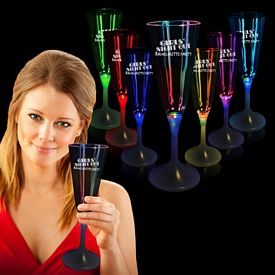 Promotional 7-1/2 oz White Base Light-Up Champagne Glass