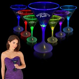 Promotional 7 oz White Base Light-Up Martini Glass