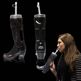 Promotional 10-3/4'' Black Plastic Western Boot Yard Glass