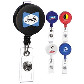 Promotional Round Retractable Clip-On Badge Holder