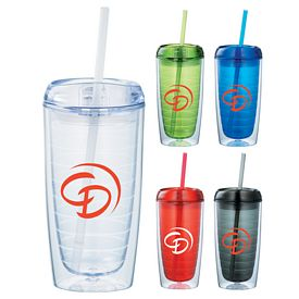 Promotional Twister 16 Oz Tumbler With Straw