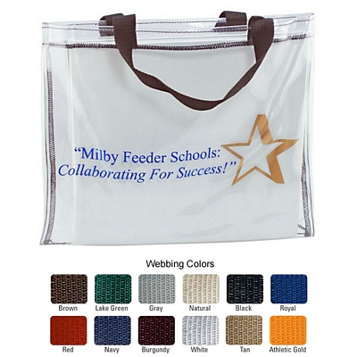 Promotional 19Ga Clear Vinyl Skinny Tote Bag