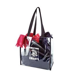 Customized Black Webbing Clear Stadium Tote Bags
