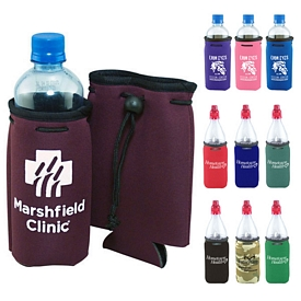 Promotional Puff Print Drawstring Bottle Coozie