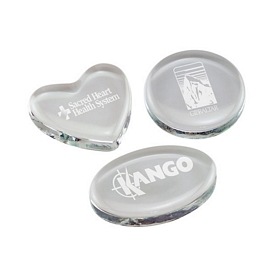 Promotional Polished Engraved Glass Paperweights