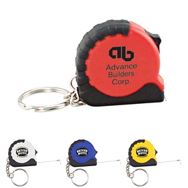 Promotional Black Rubber 3Ft Keyring Tape Measure