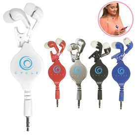 Promotional Color Clip Retractable Earbuds