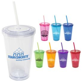 Custom 16 Oz All-Pro Acrylic Cup With Straw