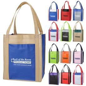 Custom Color Combination Large Non-Woven Grocery Tote W- Pocket