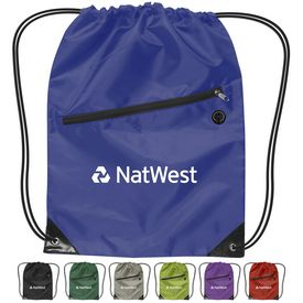 Customized 210D Nylon Zippered Drawstring Backpack