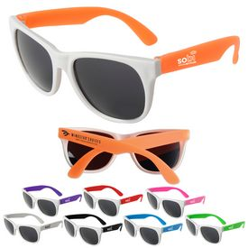 Promotional White Frame Neon Sunglasses