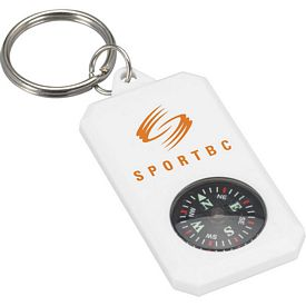 Promotional White Compass Key Chain