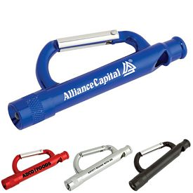 Promotional Carabiner Flashlight Whistle